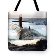 Starboard Bow View Of Attack Submarine Tote Bag