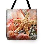 Starfish And Pink Roses Tote Bag