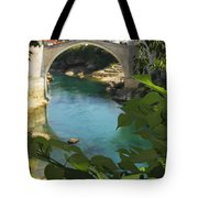 Stari Most Or Old Town Bridge Over The Tote Bag