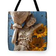 Statue Of Woman With Sunflowers Tote Bag