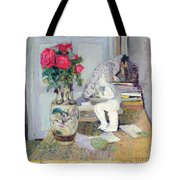 Statuette By Maillol And Red Roses Tote Bag