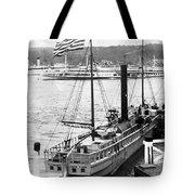 Steamer In The Hudson River - New York - 1909 Tote Bag