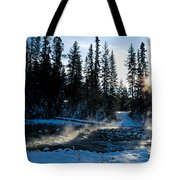 Steaming River In Winter Tote Bag