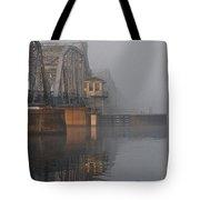 Steel Bridge In Fog - Vertical Tote Bag