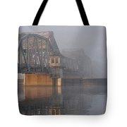 Steel Bridge In Morning Fog Tote Bag