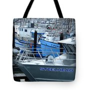 Steelhead And Fishing Boats Tote Bag