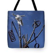 Steer Skull In Tree Tote Bag by Garry Gay