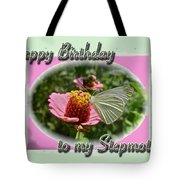 Stepmother Birthday Greeting Card - Butterfly On Flower Tote Bag