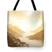 Misted Mountain River Passage Tote Bag