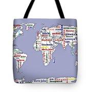 Steve Jobs Apple World Map Digital Art Tote Bag