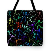 Stickmen Characters Aglow With Color Tote Bag