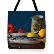 Still Life With Mackerels Lemons And Tomatoes Tote Bag