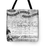 Stock Certificate, 1853 Tote Bag