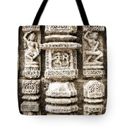 Stone Carvings In An Indain Temple Tote Bag