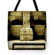 Stone Face - Limestone Windows Column And Bank Create A Misterious Face Tote Bag