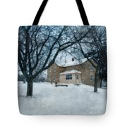 Stone Farmhouse In Winter Tote Bag