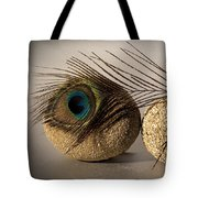stone fish - A a peacock feather and four pebbles become a sea creature in artist mind Tote Bag