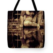 stone in reflexion - Statue reflected in a sea of doubt in vintage process Tote Bag