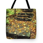 Stone Stairway In Forest, Cape Breton Tote Bag