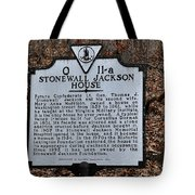 Stonewall Jackson House Tote Bag by Todd Hostetter