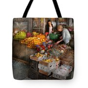 Storefront - Hoboken Nj - Picking Out Fresh Fruit Tote Bag by Mike Savad