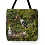 Storks Around A Nest Tote Bag