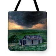 Storm Over Abandoned House Tote Bag by Jill Battaglia