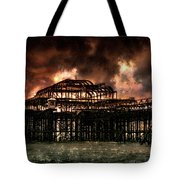 Storm Over The West Pier Tote Bag