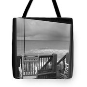 Storm-rocked Beach Chairs Tote Bag