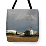 Storm Sky Over The Old Railyard Tote Bag