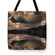 Strange Clouds Reflected Tote Bag