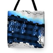 Abstract Guitar In Blue Tote Bag