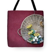 Straw Basket With Flowers Tote Bag