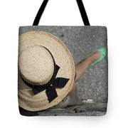 Straw Hat And Green Shoes Tote Bag