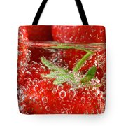 Strawberries In Water Close Up Tote Bag