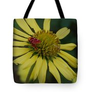 Strawberry Moth On A Yellow Flower Tote Bag