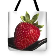Strawberry On A Black Spoon Against White No.0003 Tote Bag