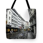 Street In Lucerne With Cycles And Rain Tote Bag