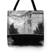 Street Photography Downtown Asheville Fountain  Tote Bag