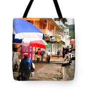 Street Scene In Rosea Dominica Filtered Tote Bag