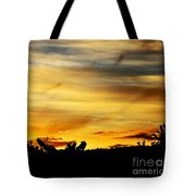 Stripey Sunset Silhouette Tote Bag