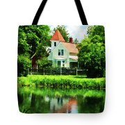 Suburban House With Reflection Tote Bag
