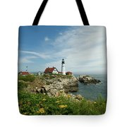 Summer At Portland Head Light Tote Bag