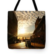 Summer Sunset Over A Cobblestone Street - New York City Tote Bag