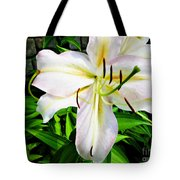 Summer White Madonna Lily Tote Bag