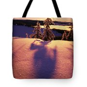 Sun Casting Shadows On Snow Covered Tote Bag