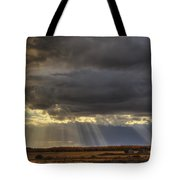 Sun Rays Through Clouds Over Three Old Tote Bag