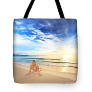 Sunbathing At Sunrise Tote Bag