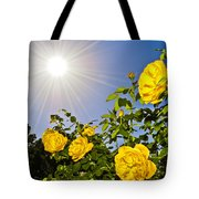 Sunflare And Yellow Roses Tote Bag by Amber Flowers