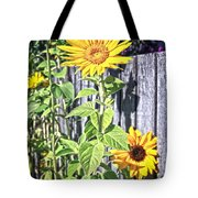 Sunflower Fence Tote Bag